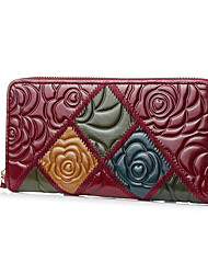 cheap -Women's Bags Cowhide Wallet Zipper Embossed Embossed Floral Print 2021 Daily Date Almond