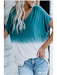cheap -women summer casual crew neck short sleeve colorblock tie dye printed t-shirts,xx-large gray