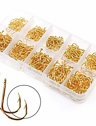 cheap -500PCS Small Fishing Hooks, Assorted 10 Sizes(3#-12#) Fish Hooks Portable Plastic Box, Strong Sharp Fishhook with Barbs for Freshwater/Seawater (Gold)