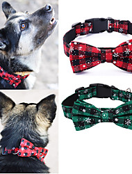 cheap -dog bandana and collar set pet christmas classic plaid snowflake dog scarf triangle bibs kerchief adjustable collars with bow tie pet costume accessories decoration for cats dogs pets (small)