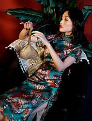 economico -Adulto Per adulto Per donna Retrò Stoffe orientali vestito da vacanza Vestiti Cheongsam Qipao in stile cinese Per Feste Halloween Seta sintetica Stampe astratte Halloween Carnevale Mascherata Abito