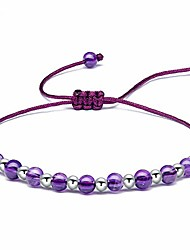 cheap -Beaded Bracelets for Womens Sterling Silver, 4MM Amethyst Gemstone Bracelet, Handmade Braided Bracelet Friendship Jewellery Gifts