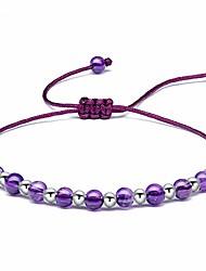 cheap -Beaded Bracelets for Womens Sterling Silver, 4MM Amethyst Gemstone Bracelet, Handmade Braided Bracelet Friendship Jewellery Gifts