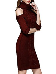 cheap -women shoulder off long sleeve dress to work (l, wine red)