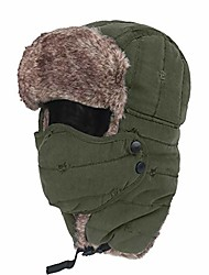 cheap -Unisex Windproof Waterproof Hunting Hat Winter Ski Trapper Hat Ushanka Ear Flap Chin Strap and Mask-Army Green