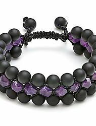 cheap -mens women 8mm natural stone bead bracelet tiger eye obsidian lava rock stone bracelet triple layer adjustable chakra gemstone bracelet for boyfriend husband