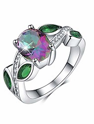 cheap -18K White Gold Plating Excellent Cut CZ Stone Rainbow Gemstone Topaz & Emerald Ring Wedding Engagement Ring for Women(Multicolor, 8)