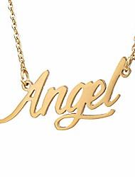 cheap -Family Necklace Cursive Words Letter Charm Necklace (Angel Golden)