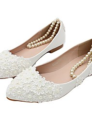 cheap -Women's Wedding Shoes Flat Heel Pointed Toe Wedding Flats Wedding Walking Shoes PU Pearl Floral Picture flat shoes