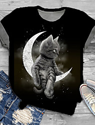 cheap -Women's Plus Size Tops T shirt Print Cat Graphic 3D Large Size Round Neck Short Sleeve Big Size