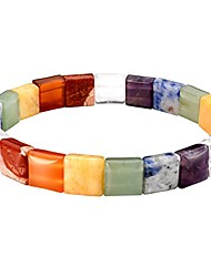 cheap -Tumble Gemstone Chakra Bracelet Reiki Balancing Healing Jewelry 10mm Square Beads Mens