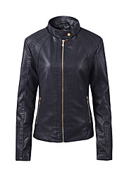 cheap -Women's Zipper Faux Leather Jacket Regular Solid Colored Going out Basic Black Blue Red Light Brown M L XL XXL