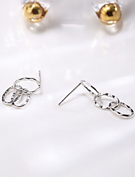 cheap -Women's Clear Cubic Zirconia Hoop Earrings Geometrical Happy Stylish Simple Silver Earrings Jewelry Silver For Daily Prom