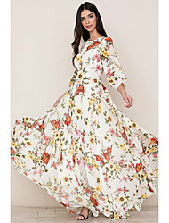 cheap -Women's Sheath Dress Maxi long Dress White 3/4 Length Sleeve Floral Print Fall Spring Round Neck Elegant Boho vacation dresses 2021 S M L XL