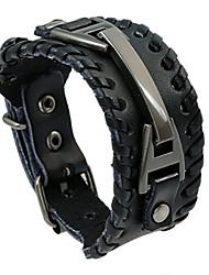 cheap -vintage leather men bracelets punk handmade wide cuff rope bracelet woven wristband bangles for men,black,241.5cm