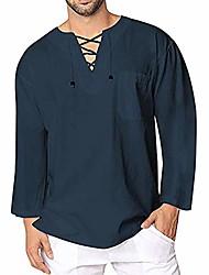 cheap -Men's Clothing Deals, Men's Autumn Winter Vintage Casual Linen Lace Long Sleeve T-Shirt