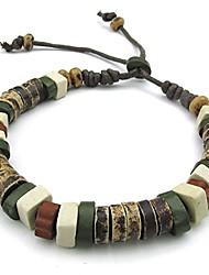 cheap -mens womens ceramic rope bracelet, tribal, fit 7-9 inch adjustable, green brown