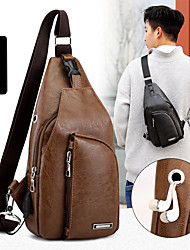 cheap -men's fashion pu leather sling bag chest shoulder backpack waterproof crossbody bags with usb charging port and earphone hole for travel hiking cycling