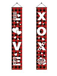 cheap -Valentine's Day Couplet Festive Atmosphere Decorate Flag Valentine's Day Door Curtain Door Flag 31x180cm