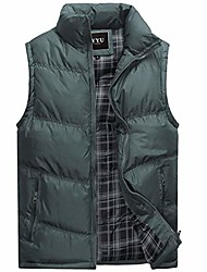 cheap -Men's Stylish Cotton Padded Vest Quilted Lightweight Down Puffer Jacket Coat (Iron Gray, X-Small)