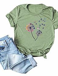 cheap -Casual Dandelion Make a Wish Women's T-Shirt Cute Graphic Short Sleeve Summer Tee Shirts with Funny Sayings