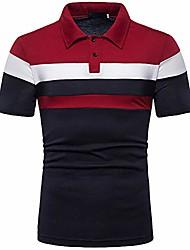 cheap -men's color block polo shirt slim fit short sleeve t-shirt tee tops