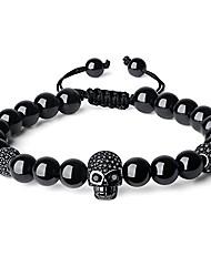 cheap -cz pave skull charm black tourmaline stone bracelet