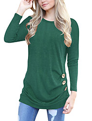 cheap -tunic tops for leggings for women long sleeve loose button trim blouse solid color round neck t-shirt
