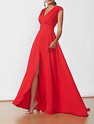 cheap -A-Line Minimalist Elegant Wedding Guest Formal Evening Dress V Neck Sleeveless Floor Length Chiffon with Split 2021