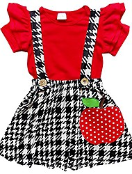 cheap -toddler & girls apple back to school collection skirt set or dress (m (4t), apple houndstooth suspender)