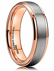 cheap -DUO Unisex 6mm 18k Rose Gold Plated Tungsten Carbide Ring Two Tone Wedding Band Size4 5.5