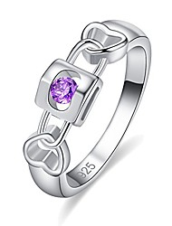 cheap -925 sterling silver created amethyst filled key to heart wedding ring band size 6