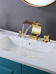 cheap -Bathroom Sink Faucet - Waterfall / Widespread Electroplated Widespread Two Handles Three HolesBath Taps