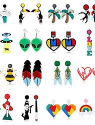 cheap -comelyjewel big resin multicoloured puzzle heart acrylic studs earrings for women girls pop girly boho 80s chic party holiday fashion jewelry women drop dangle earrings