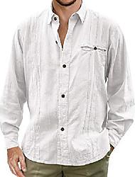 cheap -Mens Cuban Camp Guayabera Linen Shirts Casual Button Down Loose Fit Beach Shirts
