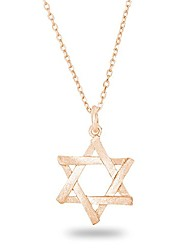 cheap -14k rose gold plated  silver jewish jewelry star of david necklace matte finish brush textured, 18""