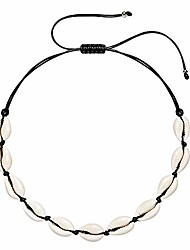 cheap -Shell Choker Necklace for Women Adjustable Seashell Necklace Handmade Alloy Cowrie Shell Clavicle Necklace Beach Boho Jewelry