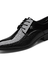 cheap -Men's Oxfords Business Wedding Office & Career Walking Shoes PU Breathable Non-slipping Height-increasing Black Fall Spring