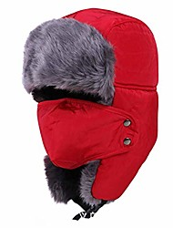 cheap -Winter Fur Trapper Bomber Hat,Warm Ear Flaps Ushanka Aviator with Windproof Mask Chin Strap Trooper Cap Red
