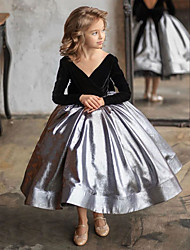 cheap -Princess / Ball Gown Ankle Length Wedding / Party Flower Girl Dresses - Satin / Velvet Long Sleeve V Neck with Color Block