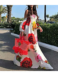 baratos -Mulheres Vestido Swing Vestido maxi longo Branco Preto Manga Curta Floral Patchwork Estampado Primavera Verão Ombro a Ombro Casual Sensual vestidos de férias 2021 S M L XL XXL
