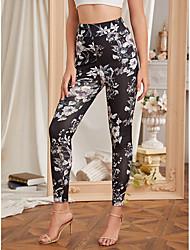 cheap -Women's Sports Leggings Sweatpants Pants Tropical Leaf Full Length Black