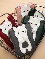 cheap -women faux leather super cute cat kitty pattern 6.3 inch phone bag small storage bag crossbody bag