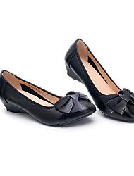 cheap -Women's Heels Wedge Heel Round Toe Casual Daily Walking Shoes Leather Bowknot Solid Colored Almond Black