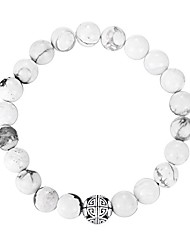 cheap -natural 8mm gemstones  healing crystal stretch beaded bracelet bangle with silver double happiness pendant (howlite)
