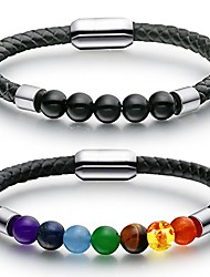 cheap -braided leather rope bracelet mens womens black obsidian tiger eye lava stone chakra bead bracelet magnetic clasp black obsidian