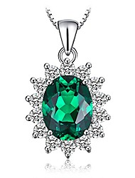 cheap -Princess Diana William Kate Natural Peridot Amethyst Topaz Created Sapphire Emerald Ruby Gemstone Pendant Necklace Silver