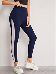 cheap -Women's Sports Leggings Sweatpants Pants Patchwork Color Block Full Length Dark Blue