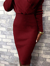 cheap -Women's Sweater Jumper Dress Knee Length Dress - Long Sleeve Solid Color Patchwork Fall Winter V Neck Casual 2020 Black Red Blushing Pink Camel Green Gray S M L XL XXL