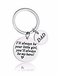 cheap -keychain gifts for dad father, i'll always be your little girl, you will always be my hero, dad gift from daughter